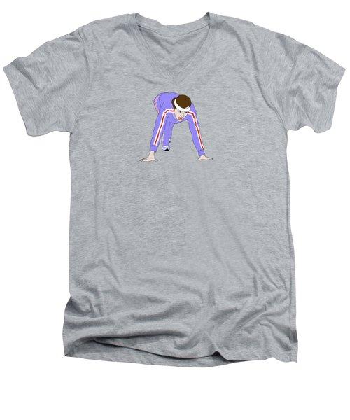 Running Track Men's V-Neck T-Shirt by Priscilla Wolfe