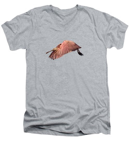 Roseate Spoonbill In Flight Men's V-Neck T-Shirt