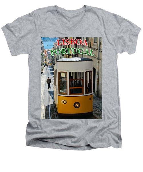 Lisbon - Portugal - Elevador Da Bica Men's V-Neck T-Shirt