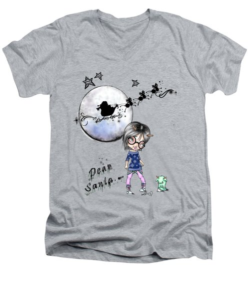 Tilly And Sprite Play Reindeers Men's V-Neck T-Shirt by Lizzy Love