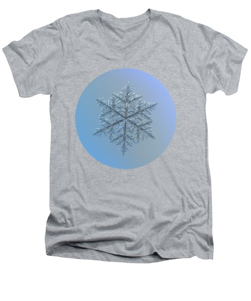 Snowflake Photo - Majestic Crystal Men's V-Neck T-Shirt by Alexey Kljatov