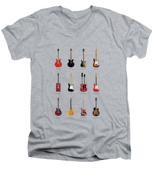 Guitar Icons No1 Men's V-Neck T-Shirt by Mark Rogan