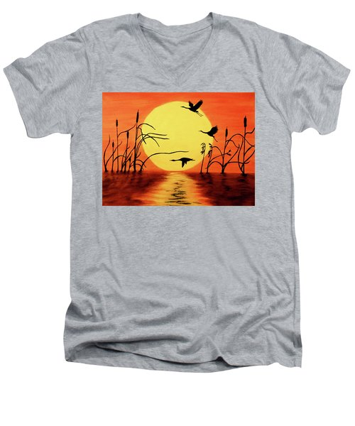 Men's V-Neck T-Shirt featuring the painting Sunset Geese by Teresa Wing