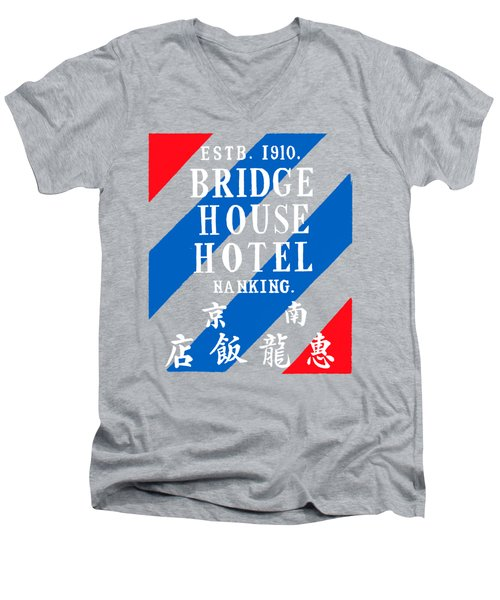 Men's V-Neck T-Shirt featuring the painting 1920 Bridge House Hotel Nanking China by Historic Image