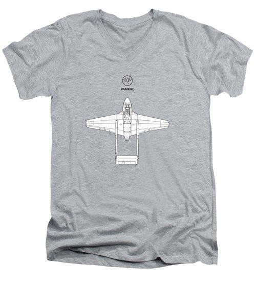 The De Havilland Vampire Men's V-Neck T-Shirt by Mark Rogan