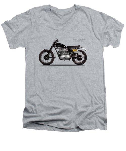 The Steve Mcqueen Desert Racer Men's V-Neck T-Shirt by Mark Rogan