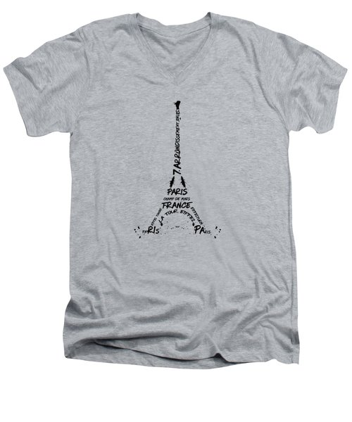 Digital Art Eiffel Tower Pattern Men's V-Neck T-Shirt