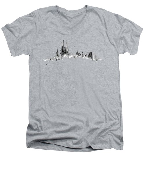White Barcelona Skyline Men's V-Neck T-Shirt by Aloke Creative Store