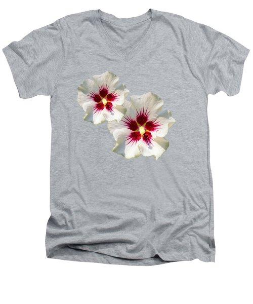 Hibiscus Flower Pattern Men's V-Neck T-Shirt