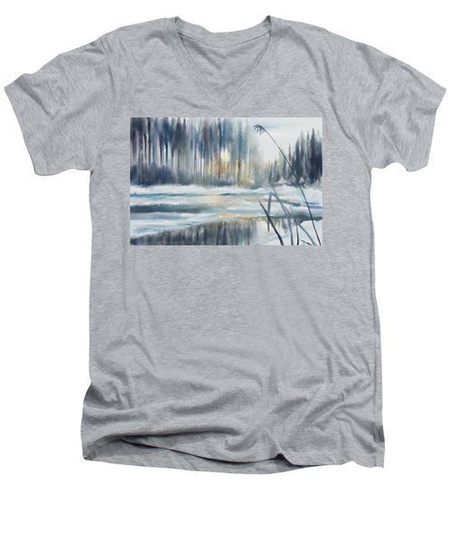Men's V-Neck T-Shirt featuring the digital art Snow From Yesterday by Ivana Westin