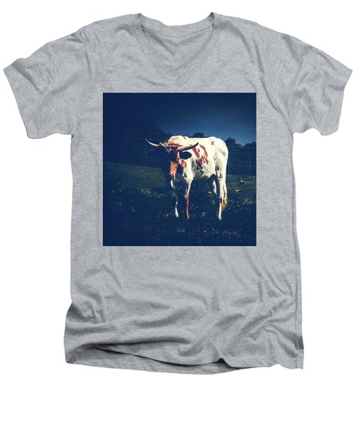 Men's V-Neck T-Shirt featuring the photograph Midnight Encounter by Sharon Mau