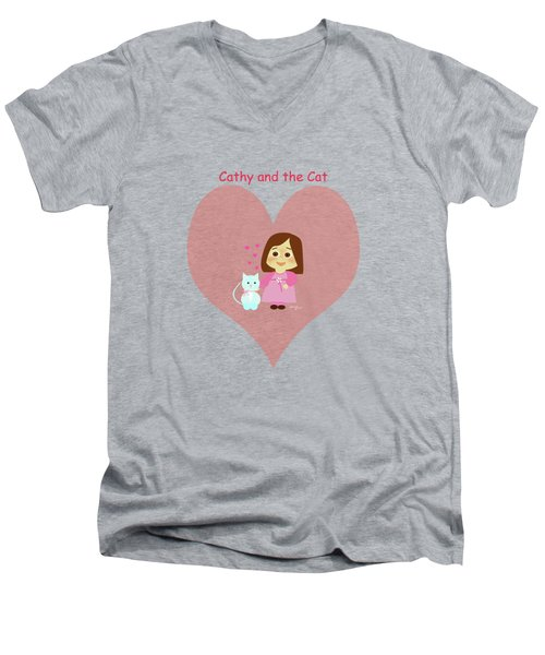 Cathy And The Cat Pink Heart Men's V-Neck T-Shirt