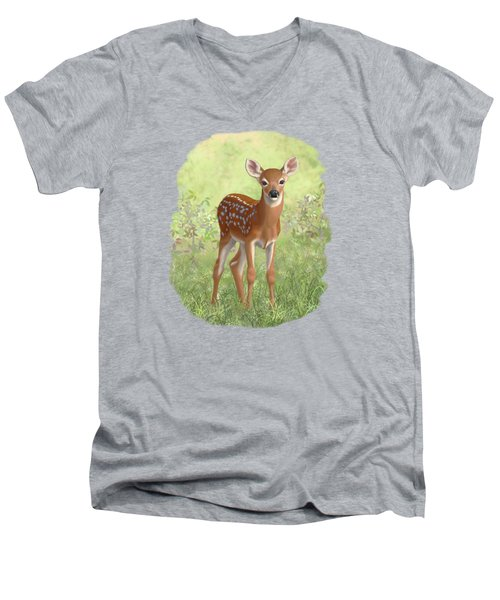 Cute Whitetail Deer Fawn Men's V-Neck T-Shirt by Crista Forest