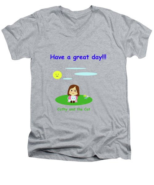 Cathy And The Cat Have A Great Day Men's V-Neck T-Shirt