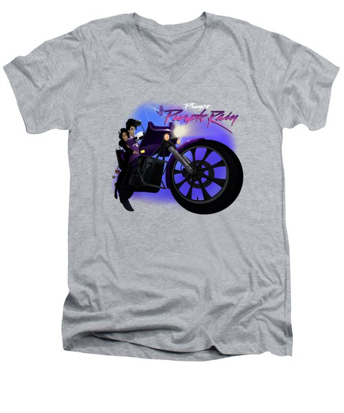 Men's V-Neck T-Shirt featuring the digital art I Grew Up With Purplerain 2 by Nelson dedos Garcia