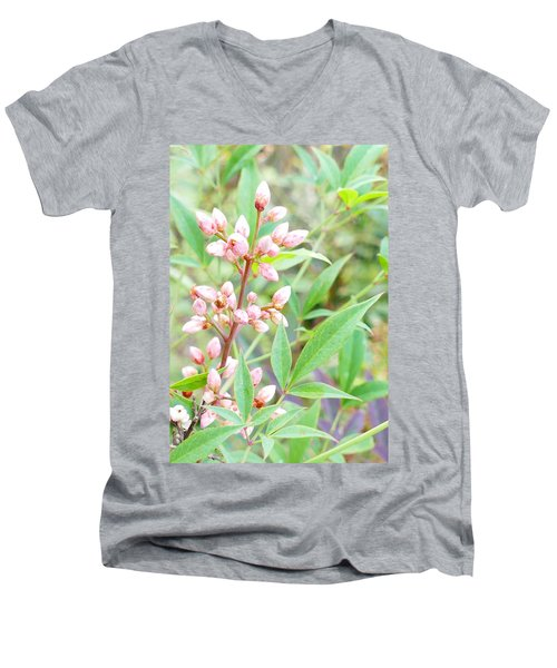 Pale Powder Pink Plant Men's V-Neck T-Shirt