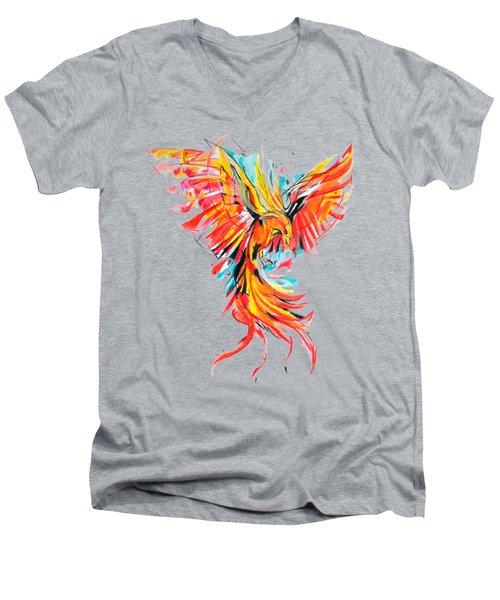 Phoenix Men's V-Neck T-Shirt by Adriano Diana