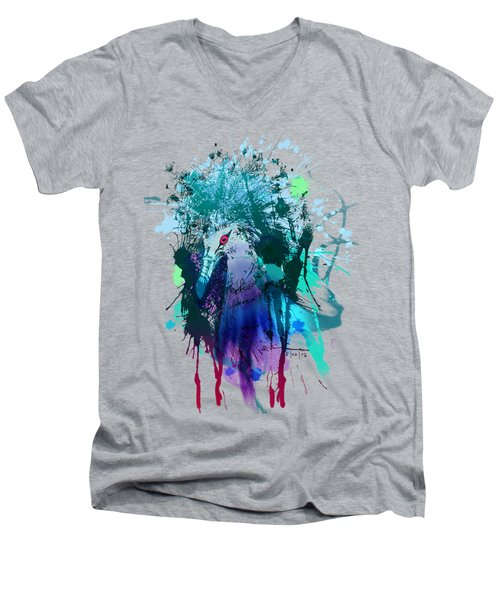 Victoria Crowned Pigeon Men's V-Neck T-Shirt by Clinton Caleb