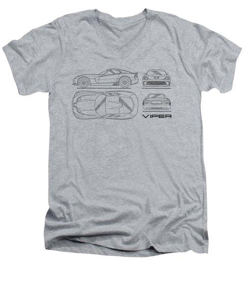 Srt Viper Blueprint Men's V-Neck T-Shirt by Mark Rogan