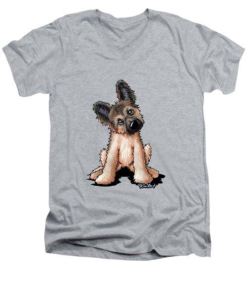 Curious Shepherd Puppy Men's V-Neck T-Shirt