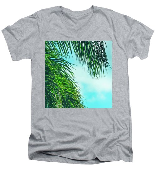 Tropical Palms Maui Hawaii Men's V-Neck T-Shirt by Sharon Mau