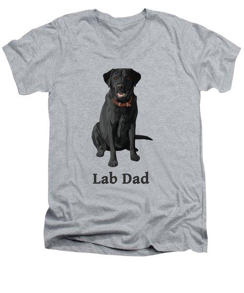 Black Labrador Retriever Lab Dad Men's V-Neck T-Shirt by Crista Forest