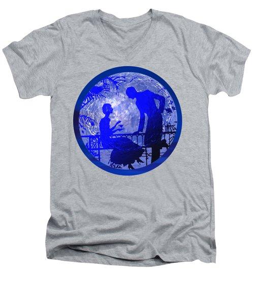 Blue Moonlight Lovers Men's V-Neck T-Shirt