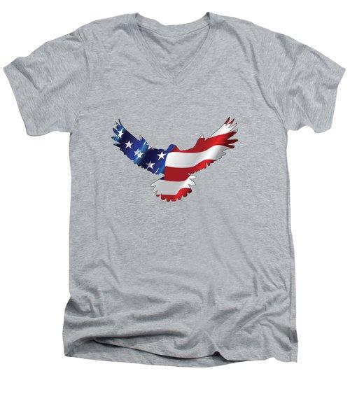 Stars And Striped Eagle Men's V-Neck T-Shirt