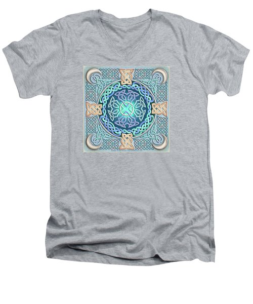 Men's V-Neck T-Shirt featuring the mixed media Celtic Eye Of The World by Kristen Fox