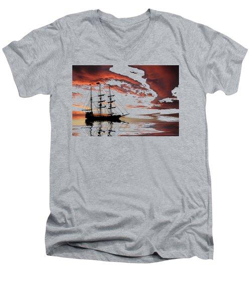 Pirate Ship At Sunset Men's V-Neck T-Shirt by Shane Bechler