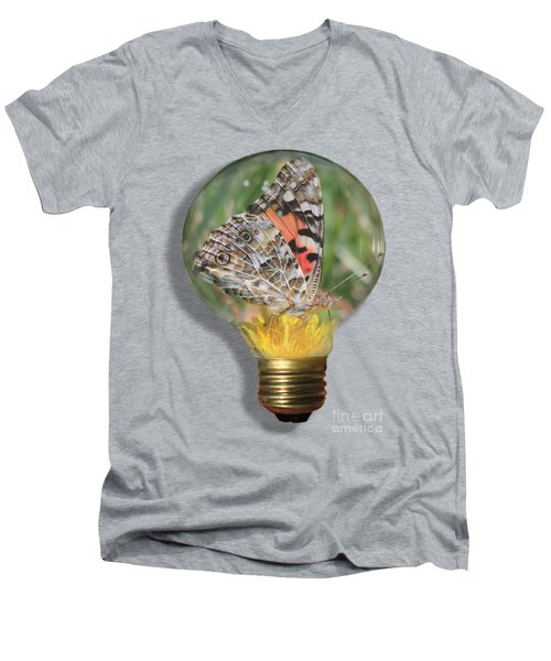 Butterfly In Lightbulb Men's V-Neck T-Shirt by Shane Bechler