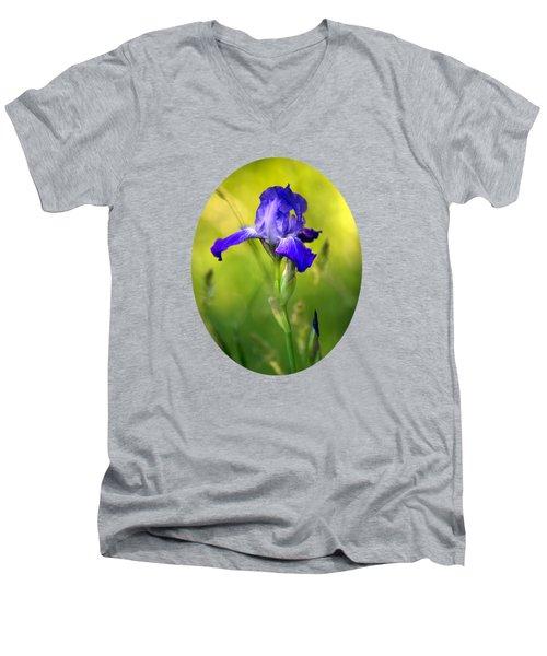 Violet Iris Men's V-Neck T-Shirt by Christina Rollo