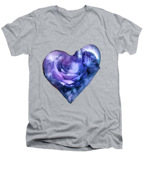 Men's V-Neck T-Shirt featuring the mixed media Heart Of A Rose - Lavender Blue by Carol Cavalaris
