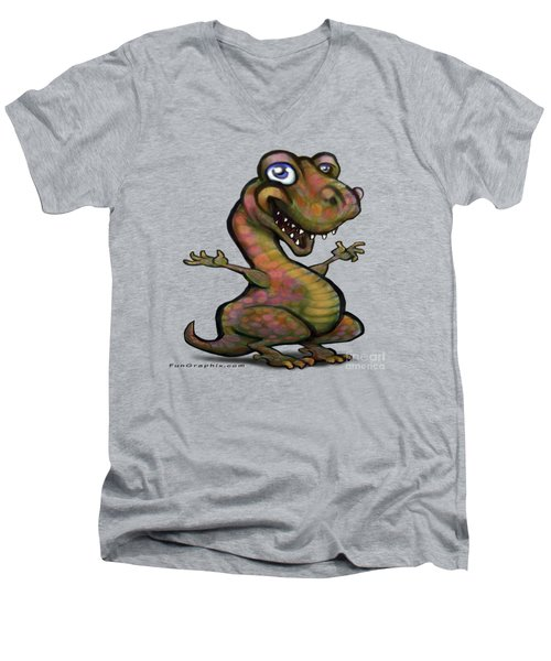 Men's V-Neck T-Shirt featuring the painting Baby T-rex Blue by Kevin Middleton