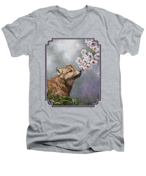 Wolf Pup - Baby Blossoms Men's V-Neck T-Shirt