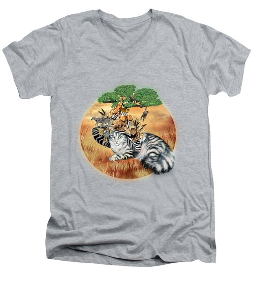 Men's V-Neck T-Shirt featuring the mixed media Cat In The Safari Hat by Carol Cavalaris