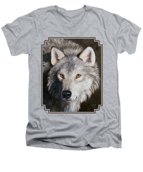 Wolf Portrait Men's V-Neck T-Shirt by Crista Forest