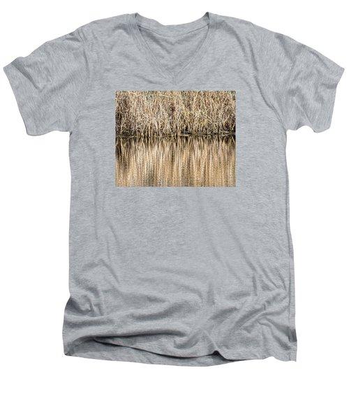 Golden Reed Reflection Men's V-Neck T-Shirt by Bill Kesler