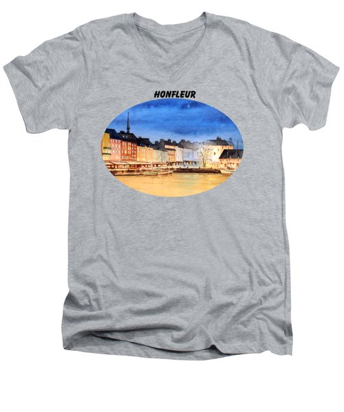 Men's V-Neck T-Shirt featuring the painting Honfleur  Evening Lights by Bill Holkham