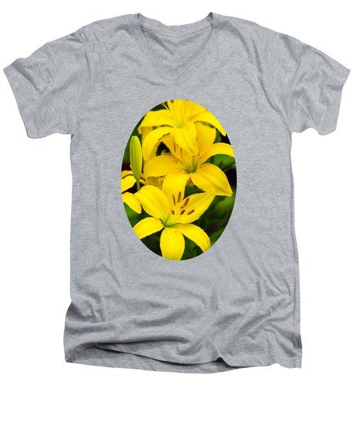 Yellow Lilies Men's V-Neck T-Shirt by Christina Rollo