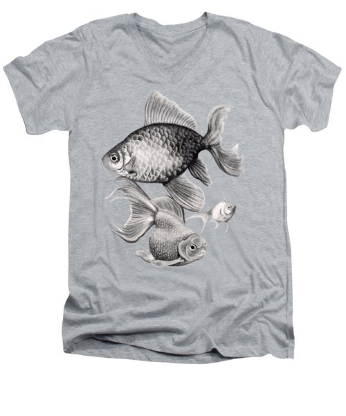 Goldfish Men's V-Neck T-Shirt by Sarah Batalka