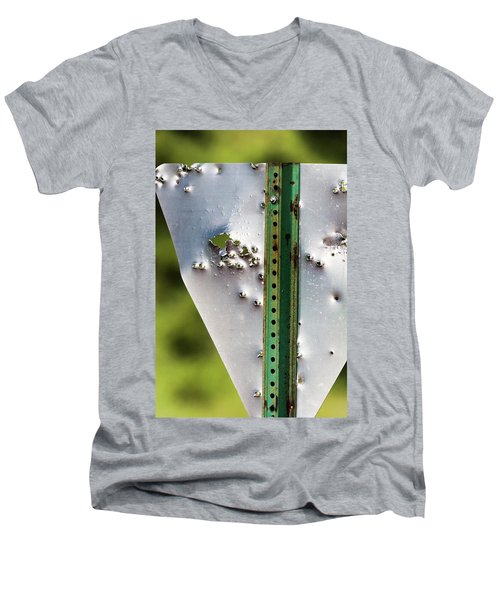 Bullet Hole Yield Men's V-Neck T-Shirt by Bill Kesler