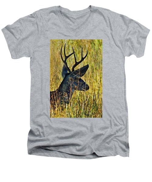 The Buck Rests Here Men's V-Neck T-Shirt by Bill Kesler
