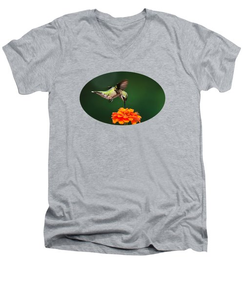 Ruby-throated Hummingbird Feeding On Orange Zinnia Flower Men's V-Neck T-Shirt by Christina Rollo