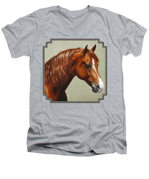 Morgan Horse - Flame Men's V-Neck T-Shirt by Crista Forest