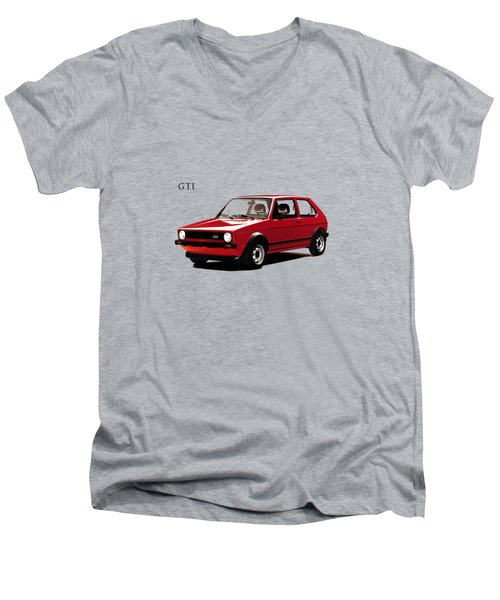 Vw Golf Gti 1976 Men's V-Neck T-Shirt by Mark Rogan
