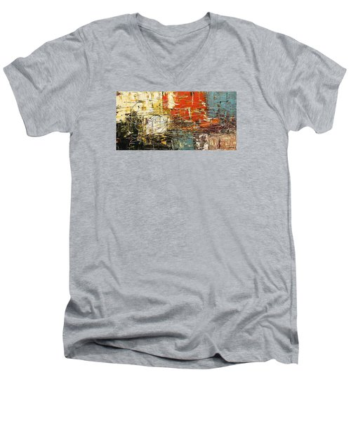 Men's V-Neck T-Shirt featuring the painting Artylicious by Carmen Guedez