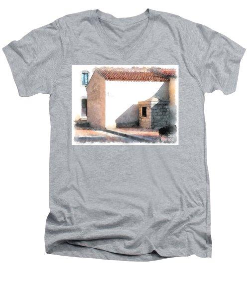 Arzachena Building Men's V-Neck T-Shirt