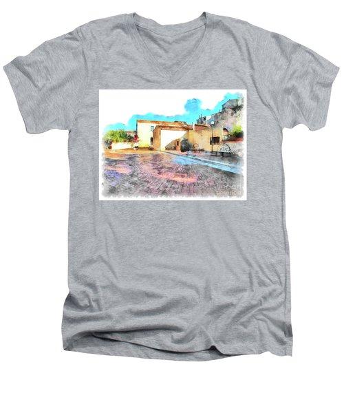 Arzachena Church Square Snow Madonna Men's V-Neck T-Shirt
