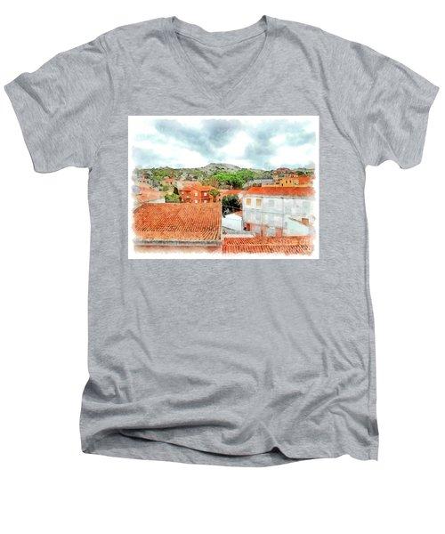 Arzachena Urban Landscape With Mountain Men's V-Neck T-Shirt